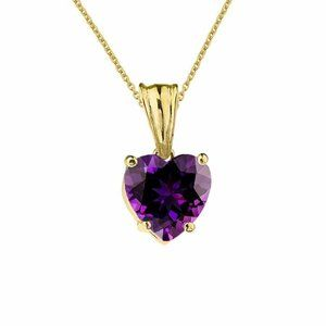Gold Heart February Birthstone Amethyst Necklace